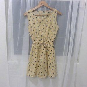 Cream Bird Print Adjustable Cinched Waist Dress